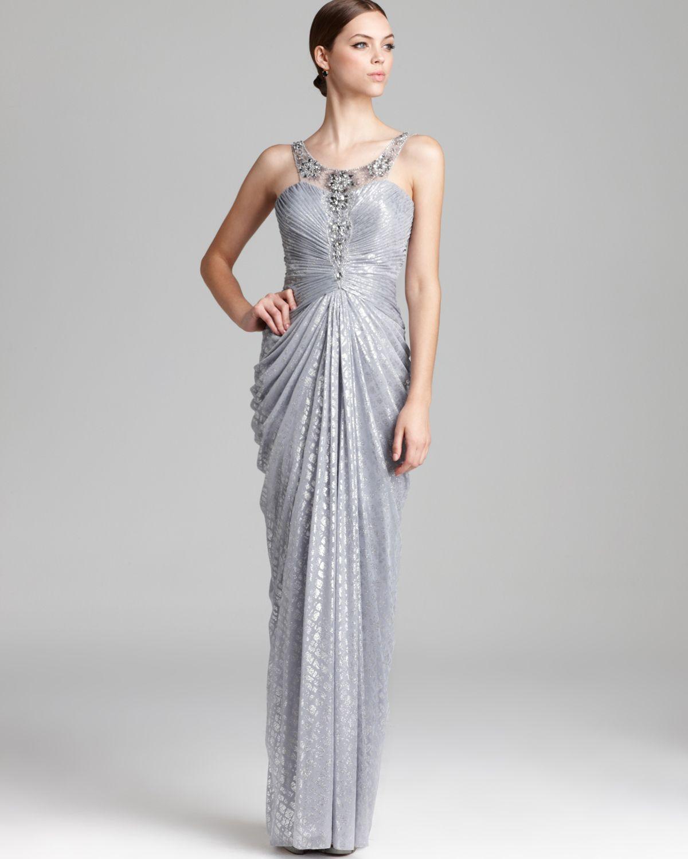 Lyst Adrianna Papell Metallic Gown Sleeveless Illusion