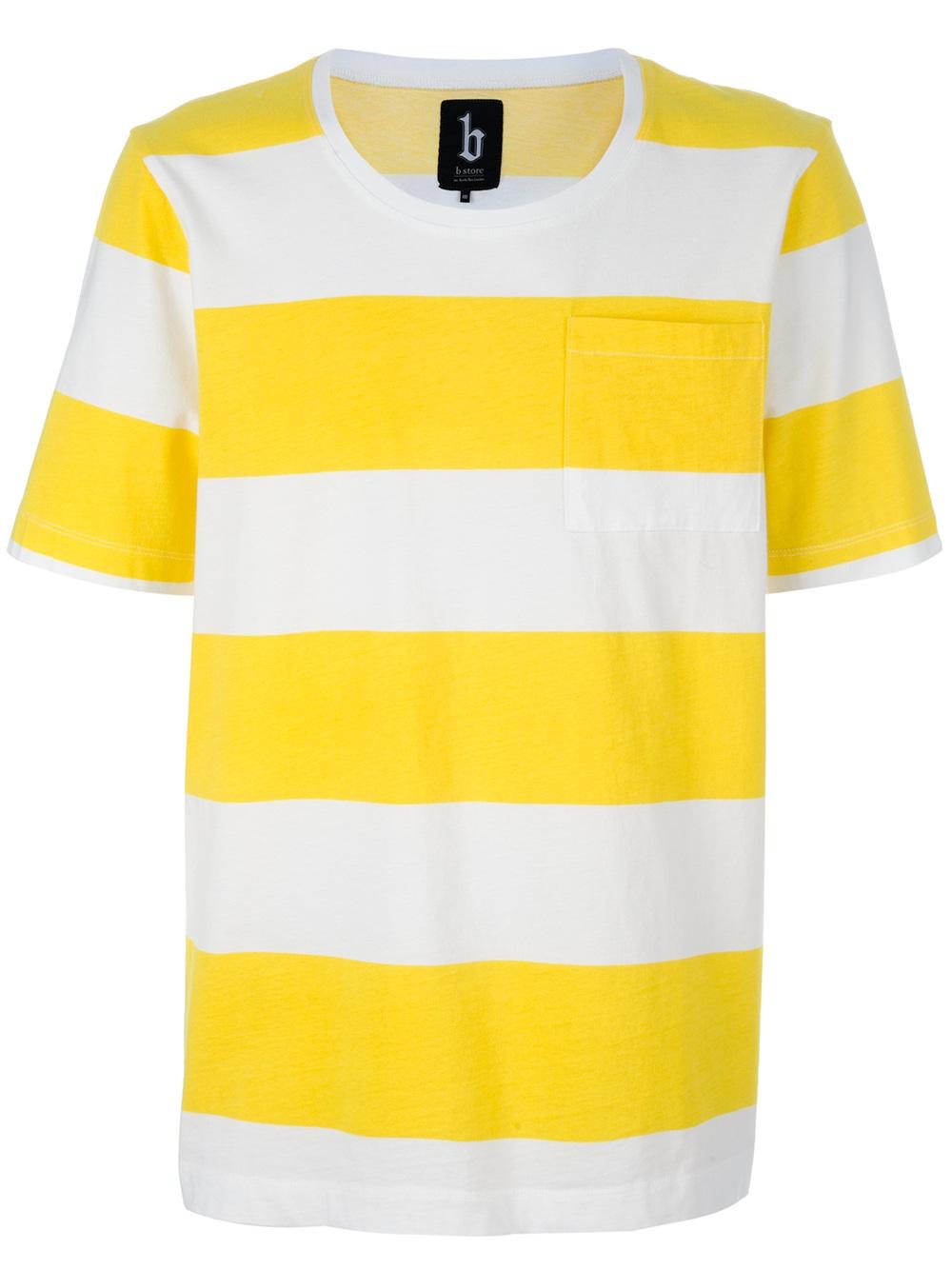B Store Striped Tshirt In White For Men Lyst
