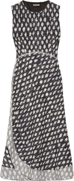 Bottega Veneta Honey Comb Patterned Silk Blend Dress - Lyst