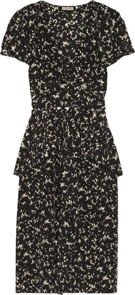Bottega Veneta Printed Silk Cutout Dress - Lyst