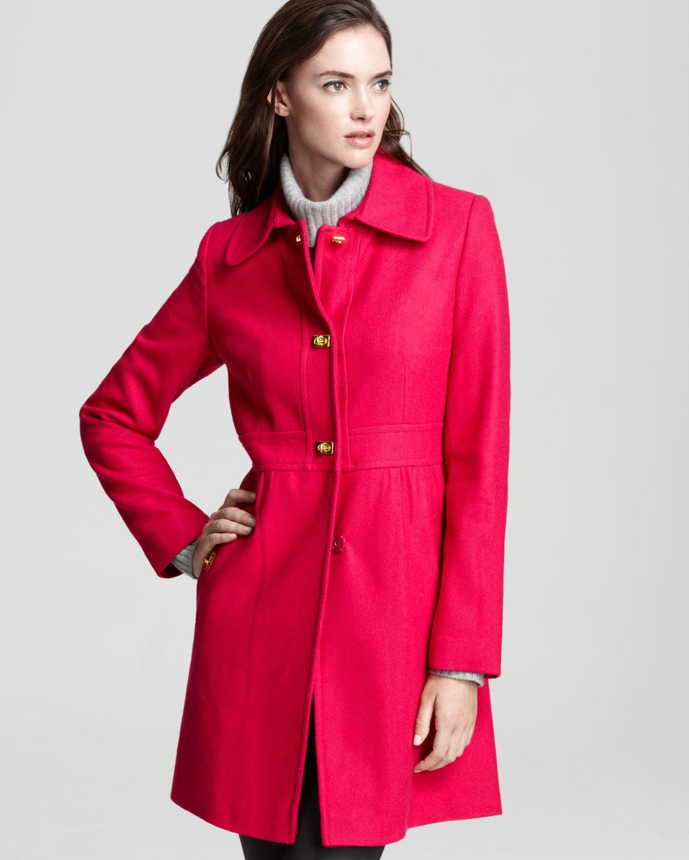 Dkny Babydoll Coat in Red   Lyst
