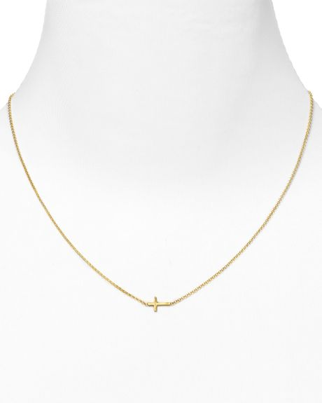 dogeared gold whisper cross necklace 18 quot lyst