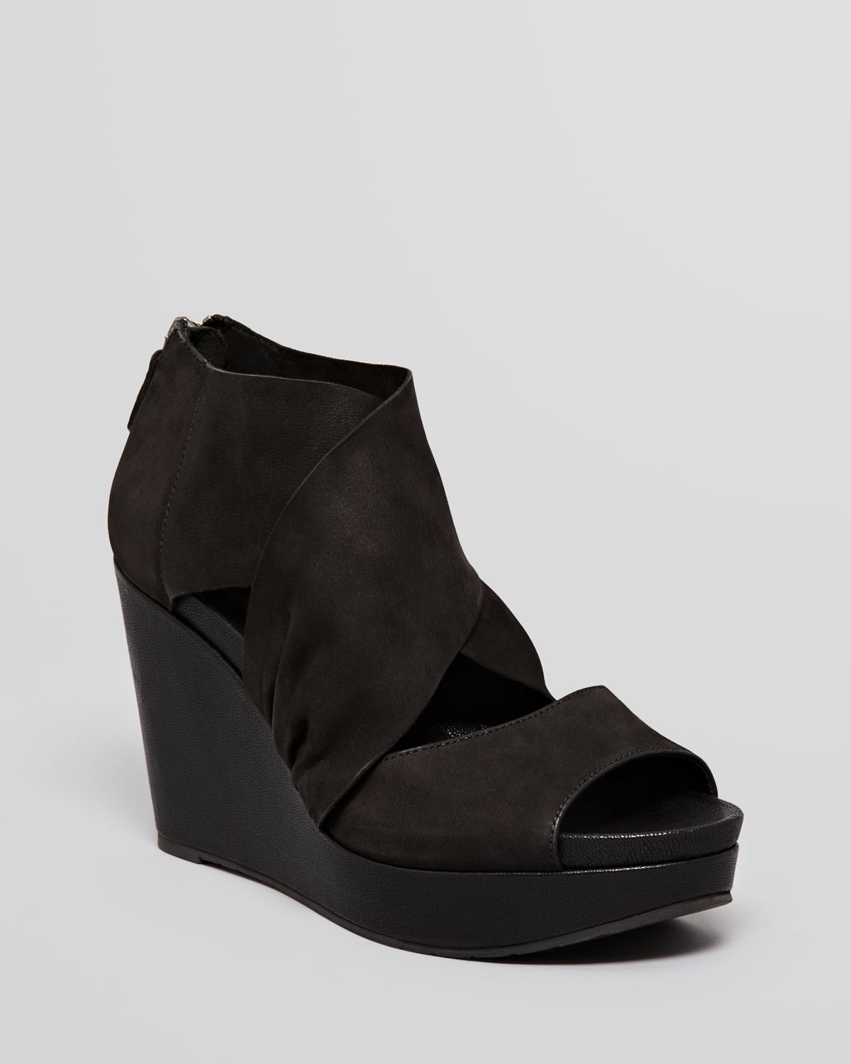 1a381a7d2ac9e Lyst - Eileen Fisher Open Toe Platform Wedge Sandals Draw in Black