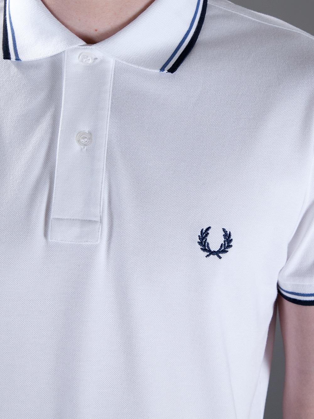 Fred Perry White Logo Polo Shirt for men