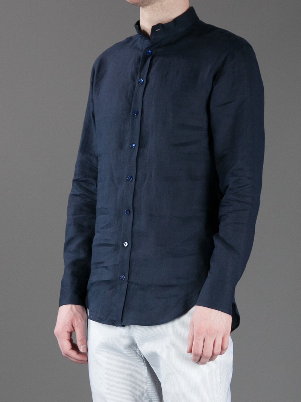 Giorgio armani Collarless Button Down Shirt in Black for Men | Lyst