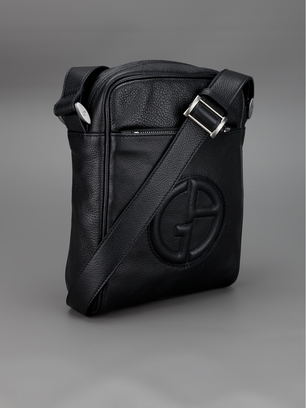 b05540f4ed51 Lyst - Giorgio Armani Raised Logo Messenger Bag in Black for Men