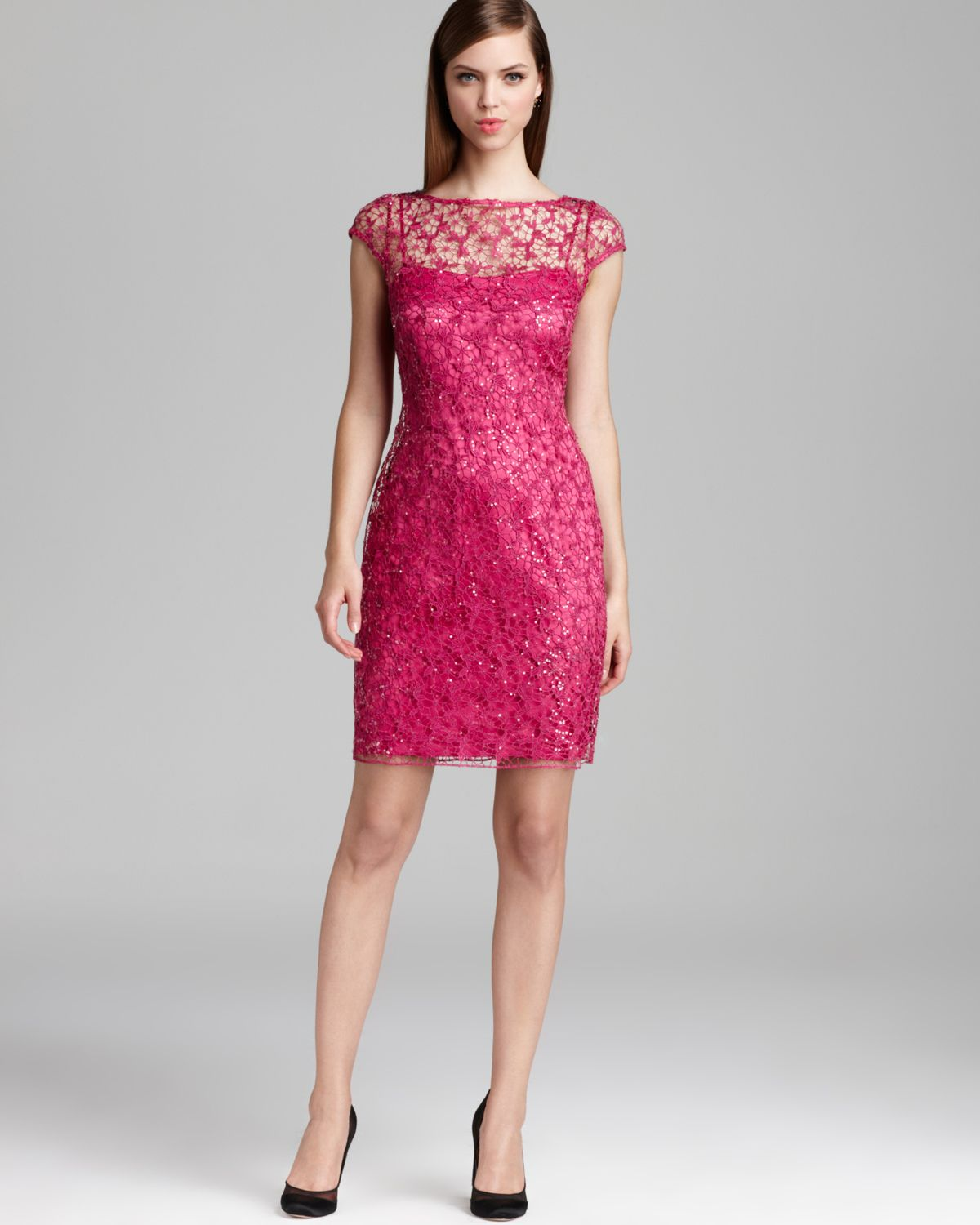 Kay unger Lace Dress Cap Sleeve in Pink  Lyst