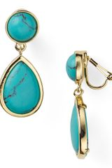 Lauren by Ralph Lauren Tear-drop Stone Clip On Earrings - Lyst