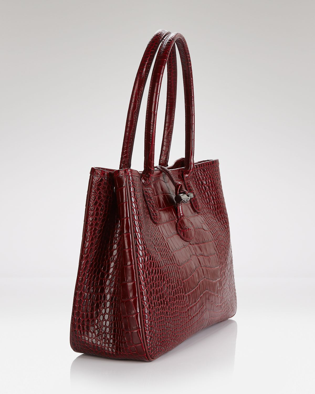 Lyst - Longchamp Shoulder Bag Roseau Croc Embossed in Purple e89fdb7e1c4bf