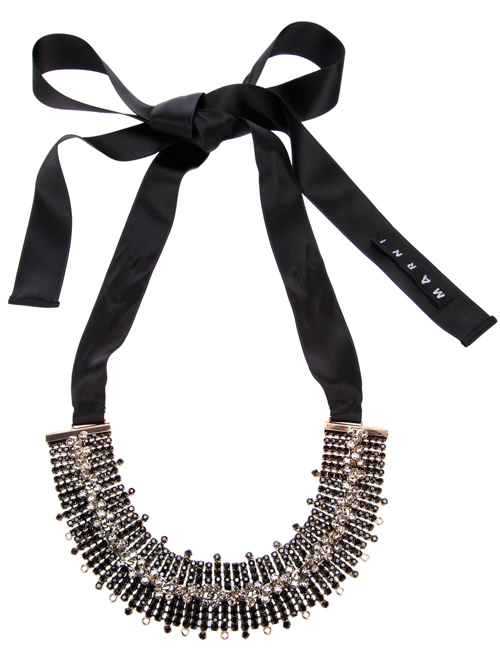 Marni moonstone embellished ribbon tie necklace in black for Ribbon tie necklace jewelry