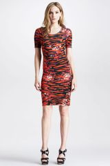 McQ by Alexander McQueen Womens Floralprint Tigerstriped Dress - Lyst