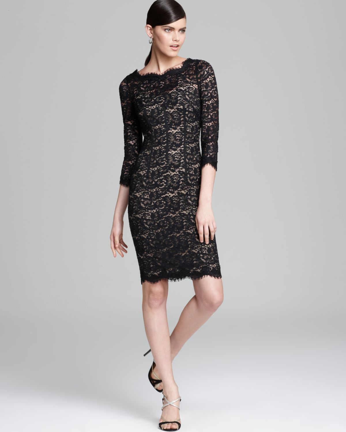 922ae9a6db2 ML Monique Lhuillier Lace Dress Three Quarter Sleeve with Open Back ...