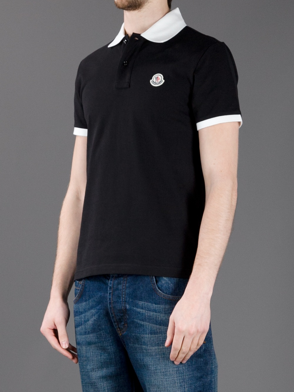 moncler black polo shirt