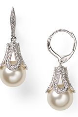 Nadri Pavé Detail Pearl Drop Earrings - Lyst