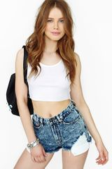 Nasty Gal Wrecked Cutoff Shorts Acid - Lyst