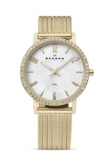 Skagen Gold Crystal Mesh Watch 26mm - Lyst