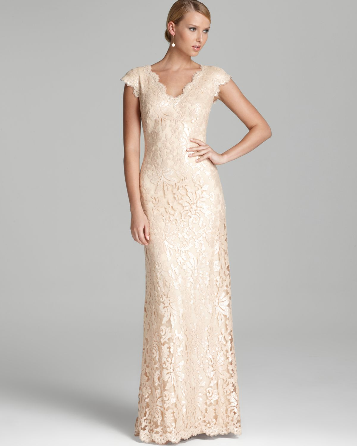 Lyst - Tadashi Shoji Lace Gown Cap Sleeve V Neck Sequin in White