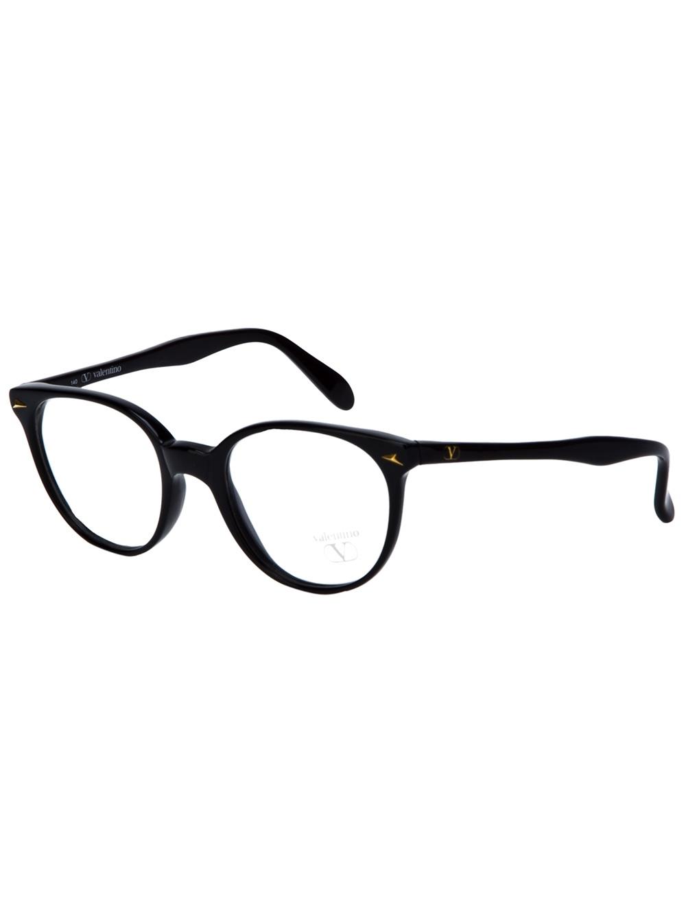 Lyst - Valentino Round Frame Glasses in Black