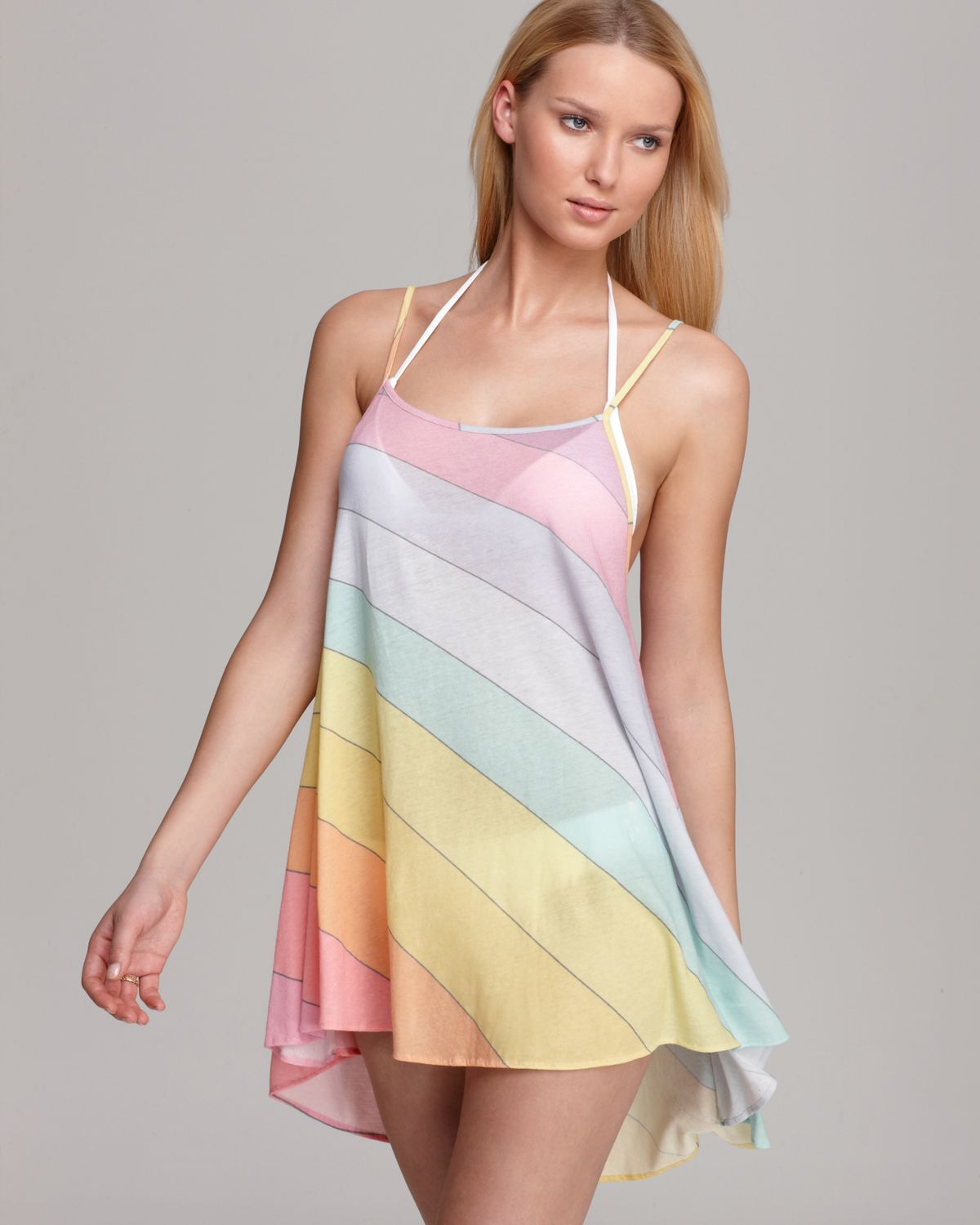 d97bfbcb9bb57 Wildfox Vintage Rainbow Swimsuit Cover Up in Pink - Lyst