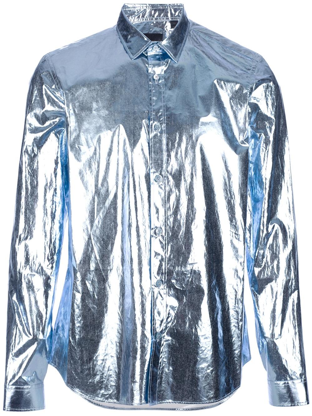 Lyst Burberry Prorsum Metallic Shirt In Blue For Men