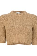 Carven Cropped Knit Sweater - Lyst