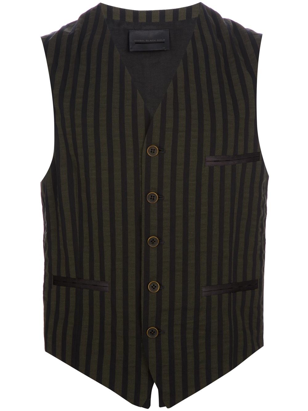 Diesel black gold Striped Waistcoat in Black for Men