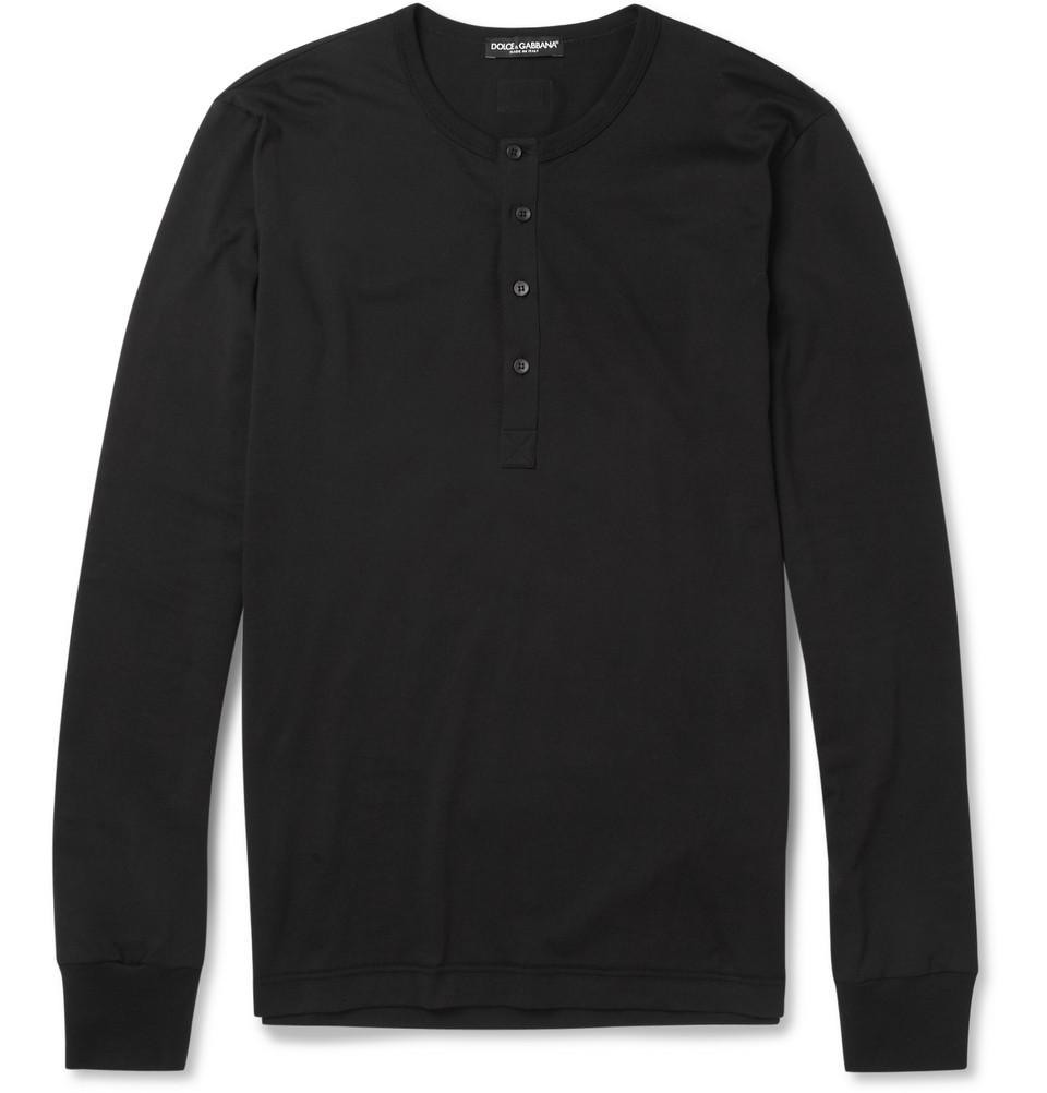 dolce gabbana long sleeved cotton jersey henley t shirt. Black Bedroom Furniture Sets. Home Design Ideas