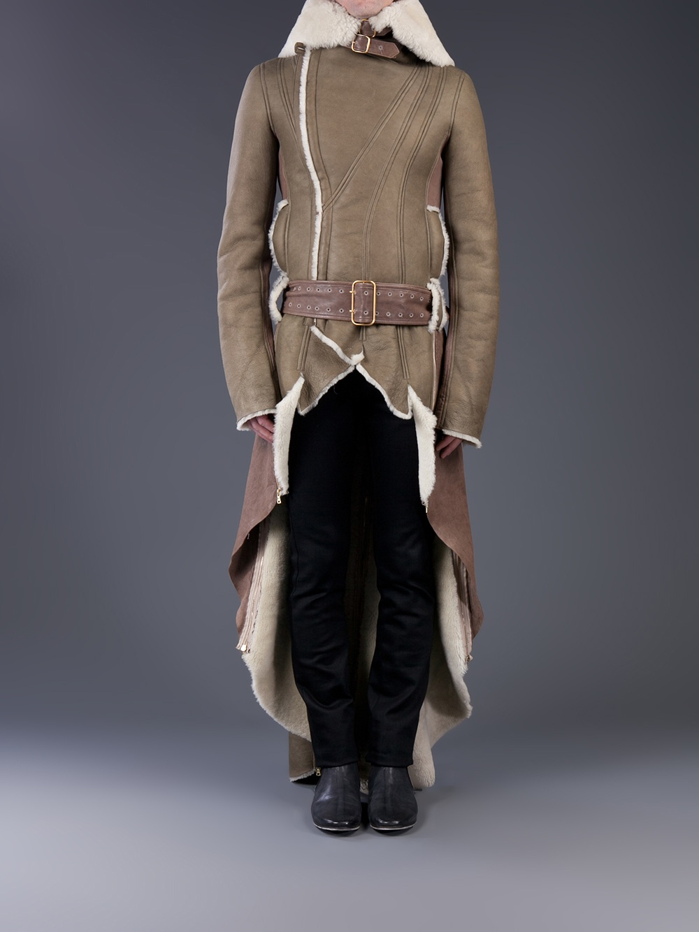 Dominic louis Shearling Trench Coat in Brown for Men | Lyst