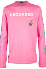 DSquared2 Printed Long Sleeve Tshirt - Lyst