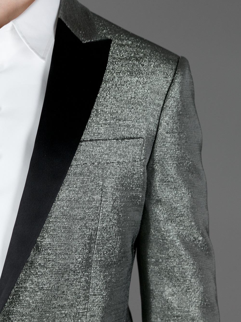 Dsquared 178 Glitter Effect Blazer In Silver Metallic For