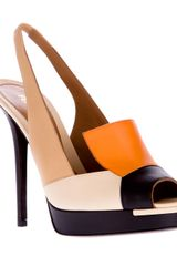 Fendi Paneled Peep Toe Pump - Lyst