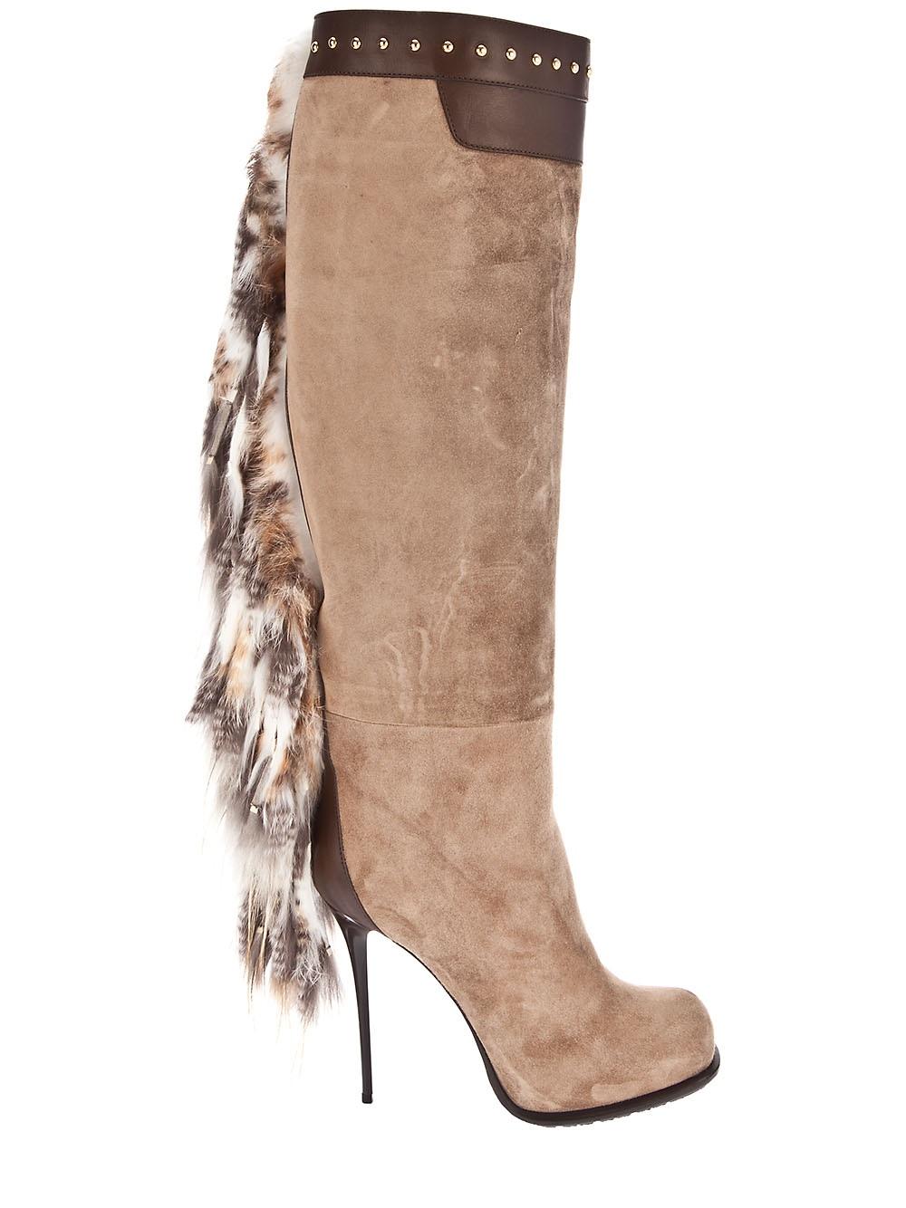 Gianmarco Lorenzi Long Boot With Fur Tassel In Natural Lyst