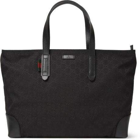 Gucci Leather Trimmed Canvas Tote Bag In Black For Men Lyst