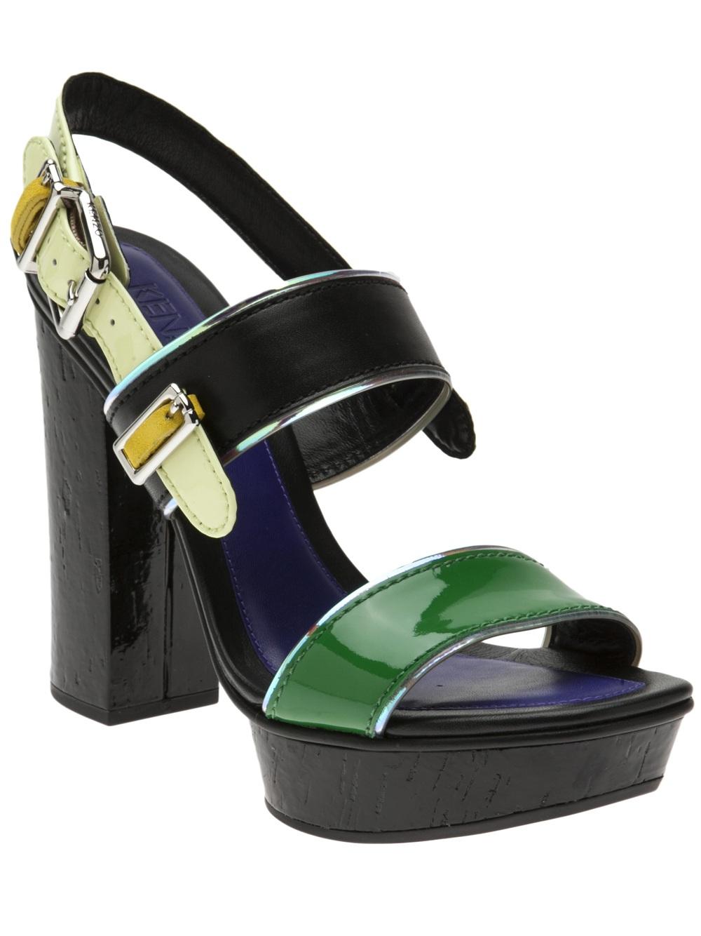 5b0052a4 KENZO Chunky Heel Sandal in Green - Lyst