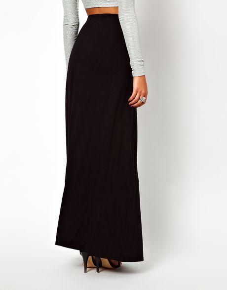 lipsy maxi skirt with split detail in black lyst