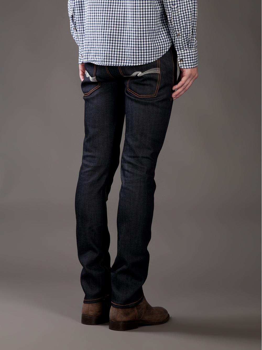 nudie jeans thin finn skinny jean in blue for men lyst. Black Bedroom Furniture Sets. Home Design Ideas