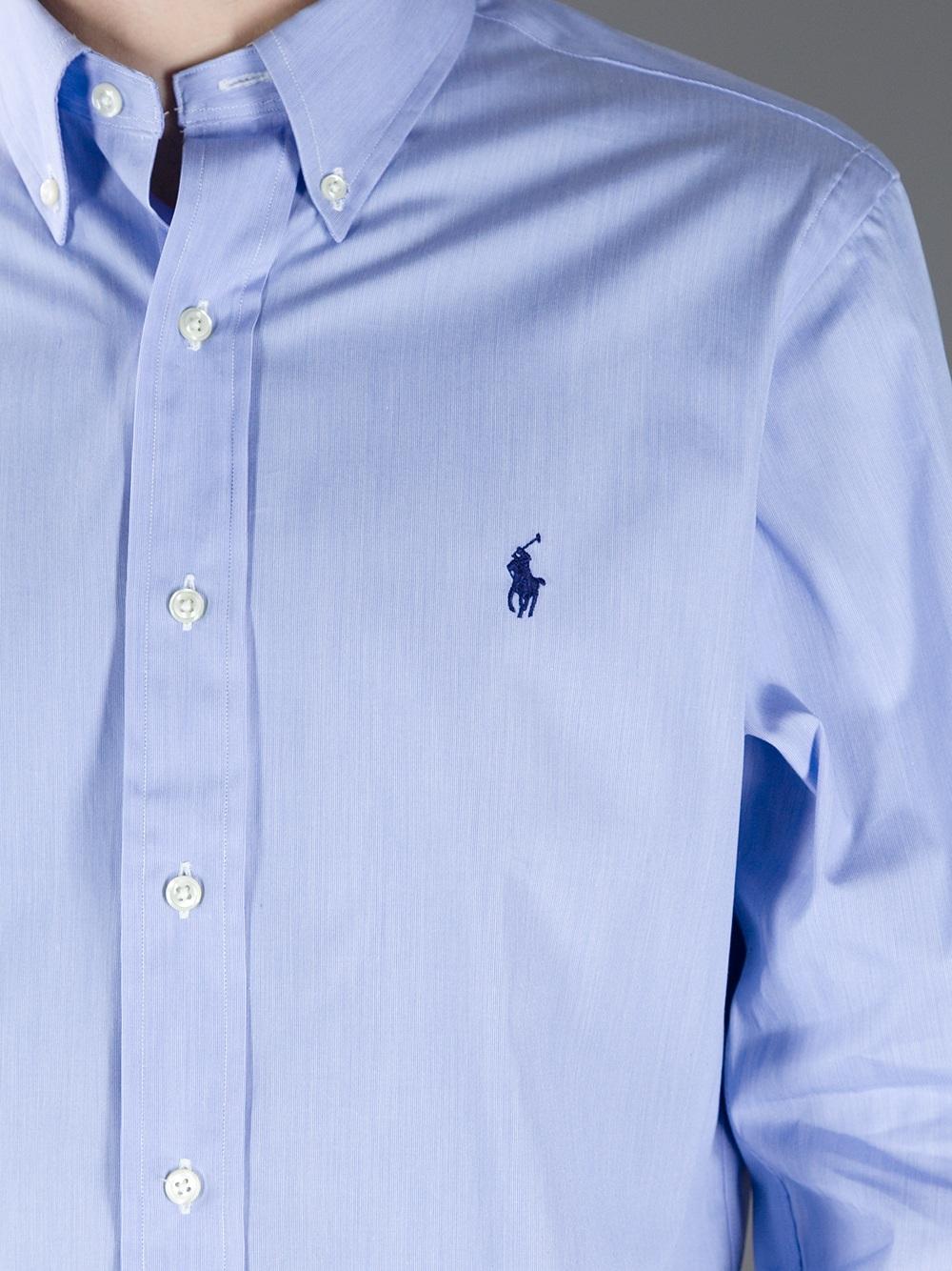 Lyst Polo Ralph Lauren Custom Fit Dress Shirt In Blue For Men