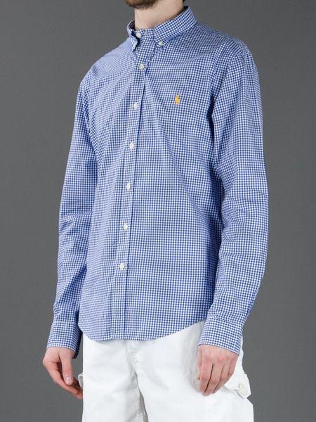 Polo ralph lauren gingham button down shirt in blue for for Polo ralph lauren casual button down shirts