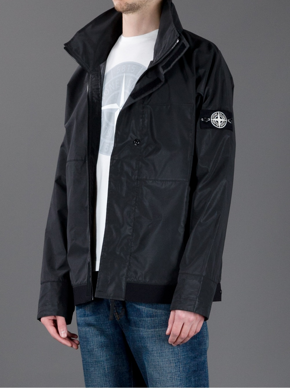 stone island reflex mat wind breaker jacket in black for men lyst. Black Bedroom Furniture Sets. Home Design Ideas