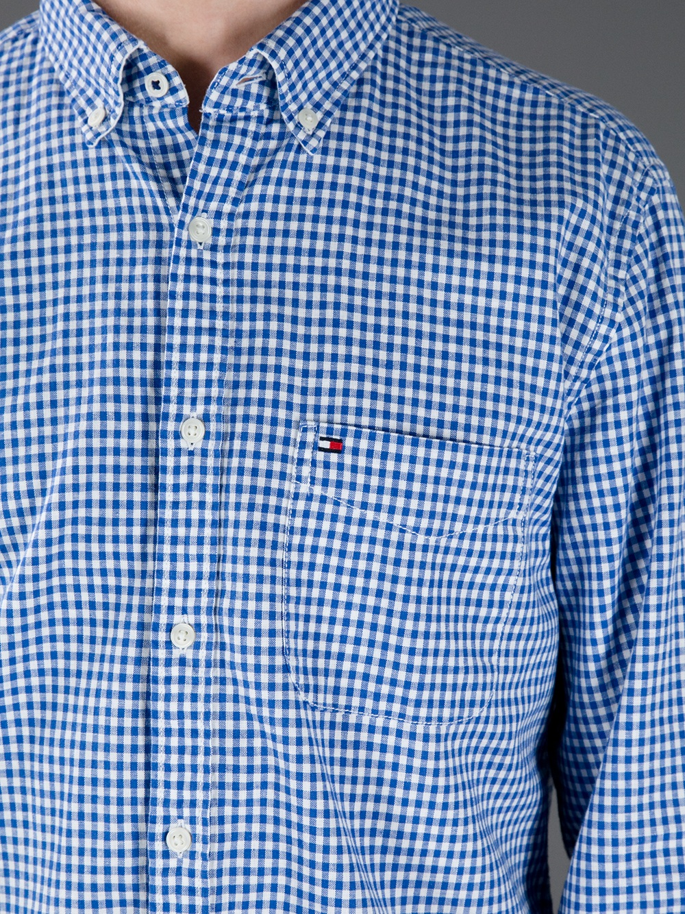 Tommy hilfiger gingham shirt in blue for men lyst for Mens blue gingham shirt