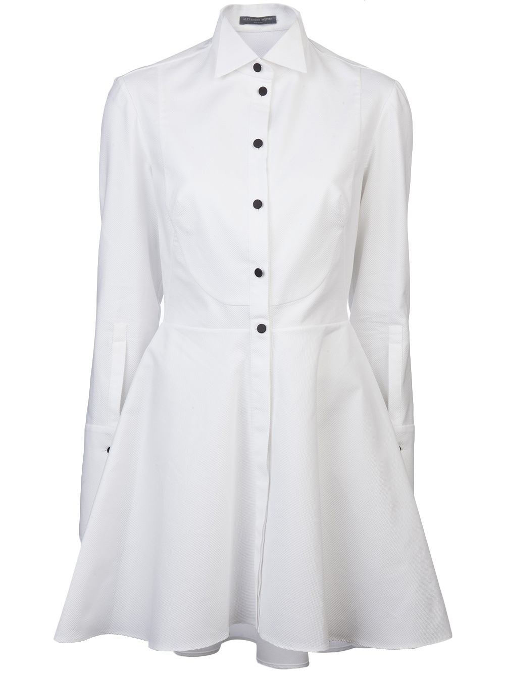 2ddb032a1582d6 Lyst - Alexander McQueen Tuxedo Shirt Dress in White