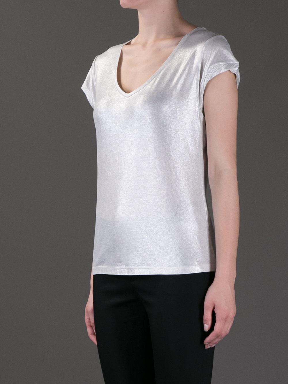 Lyst Alice Olivia Metallic Tshirt In Metallic