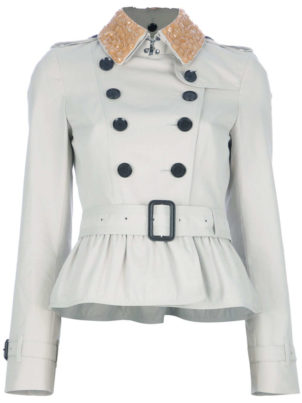 Burberry Short Peplum Trench Jacket in White | Lyst