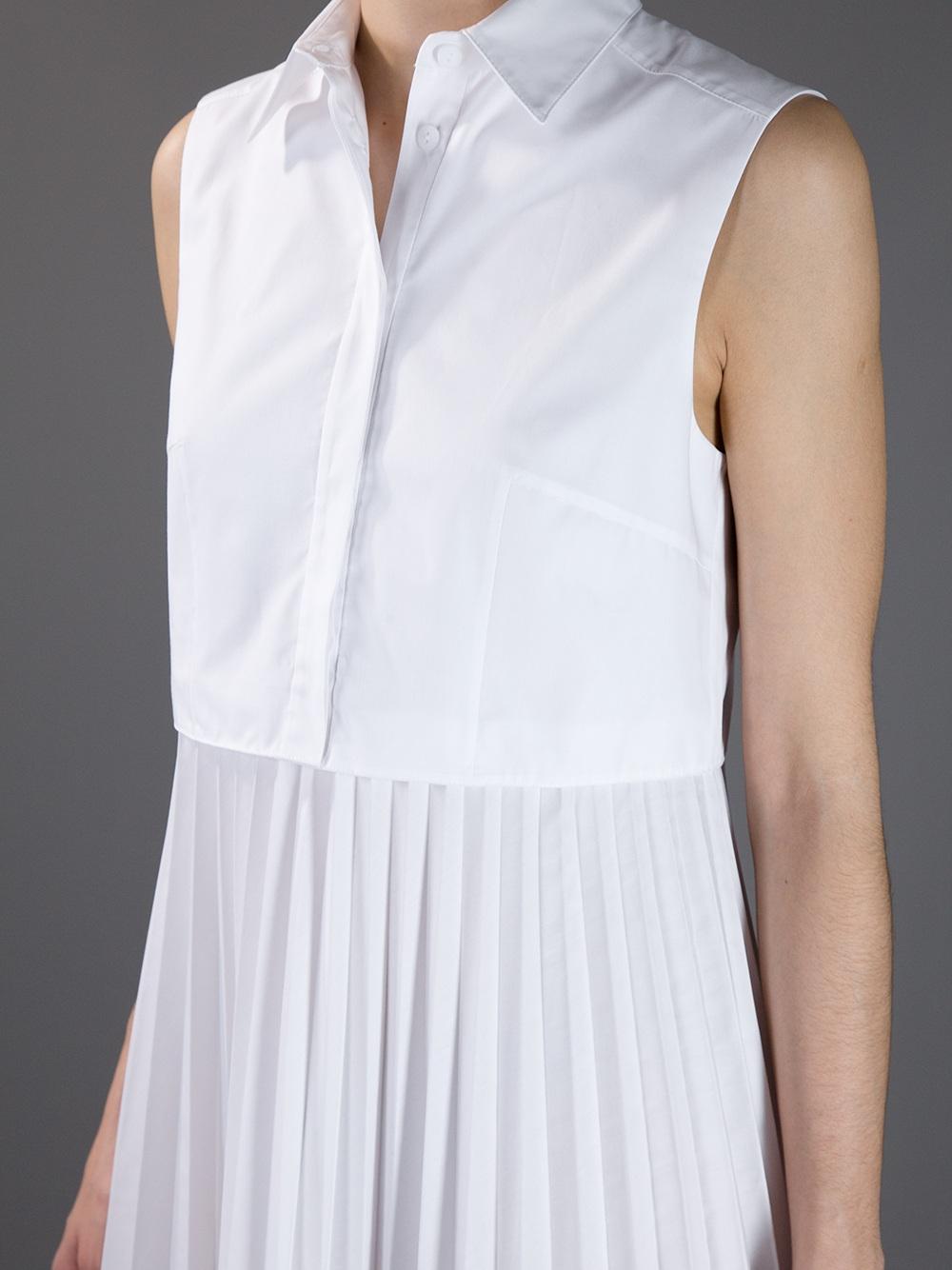 Lyst Christopher Kane Pleated Skirt Shirt Dress In White