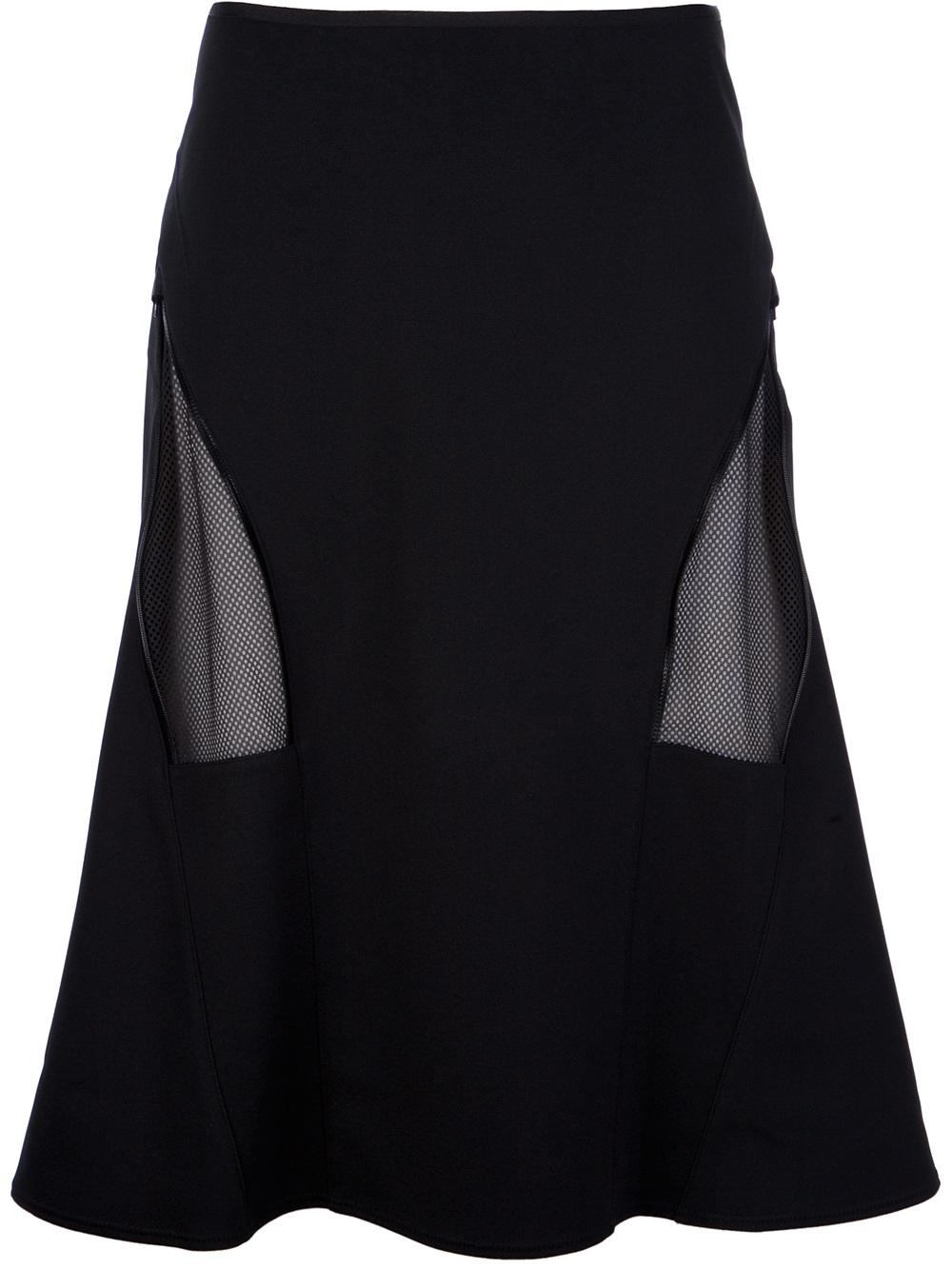 Junya watanabe Net Panel Midi Skirt in Black | Lyst