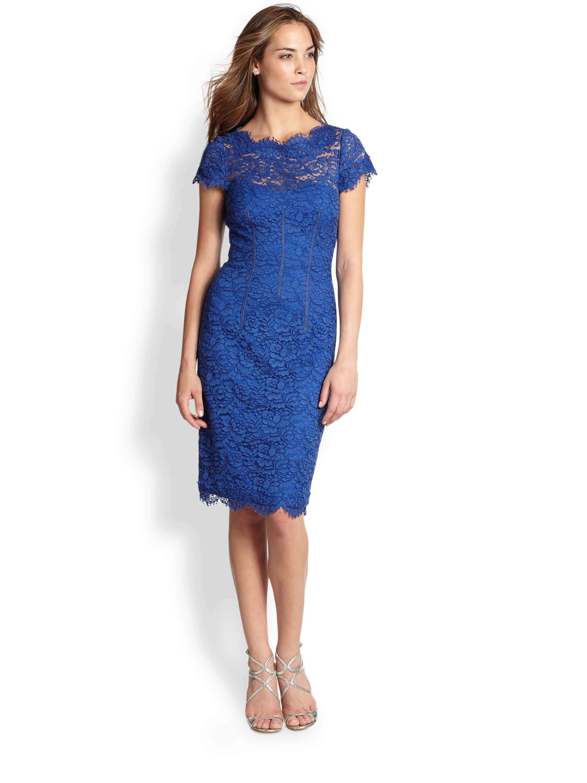 Lyst - Ml monique lhuillier Diamond back Lace Dress in Blue