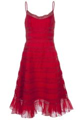 Oscar de la Renta Tea Length Tank Dress - Lyst