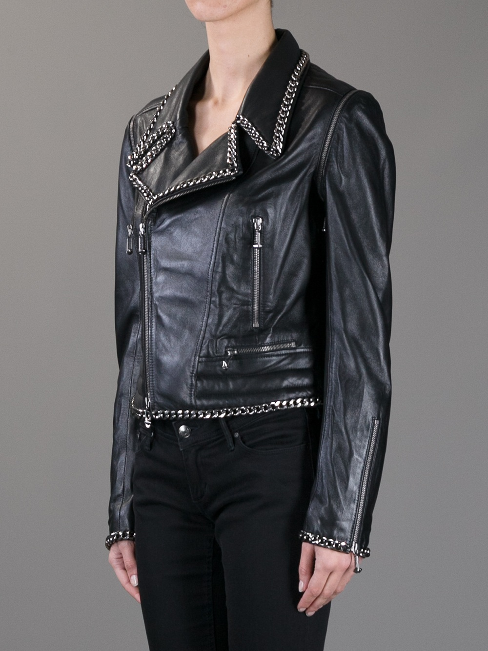 lyst philipp plein leather biker jacket in black. Black Bedroom Furniture Sets. Home Design Ideas