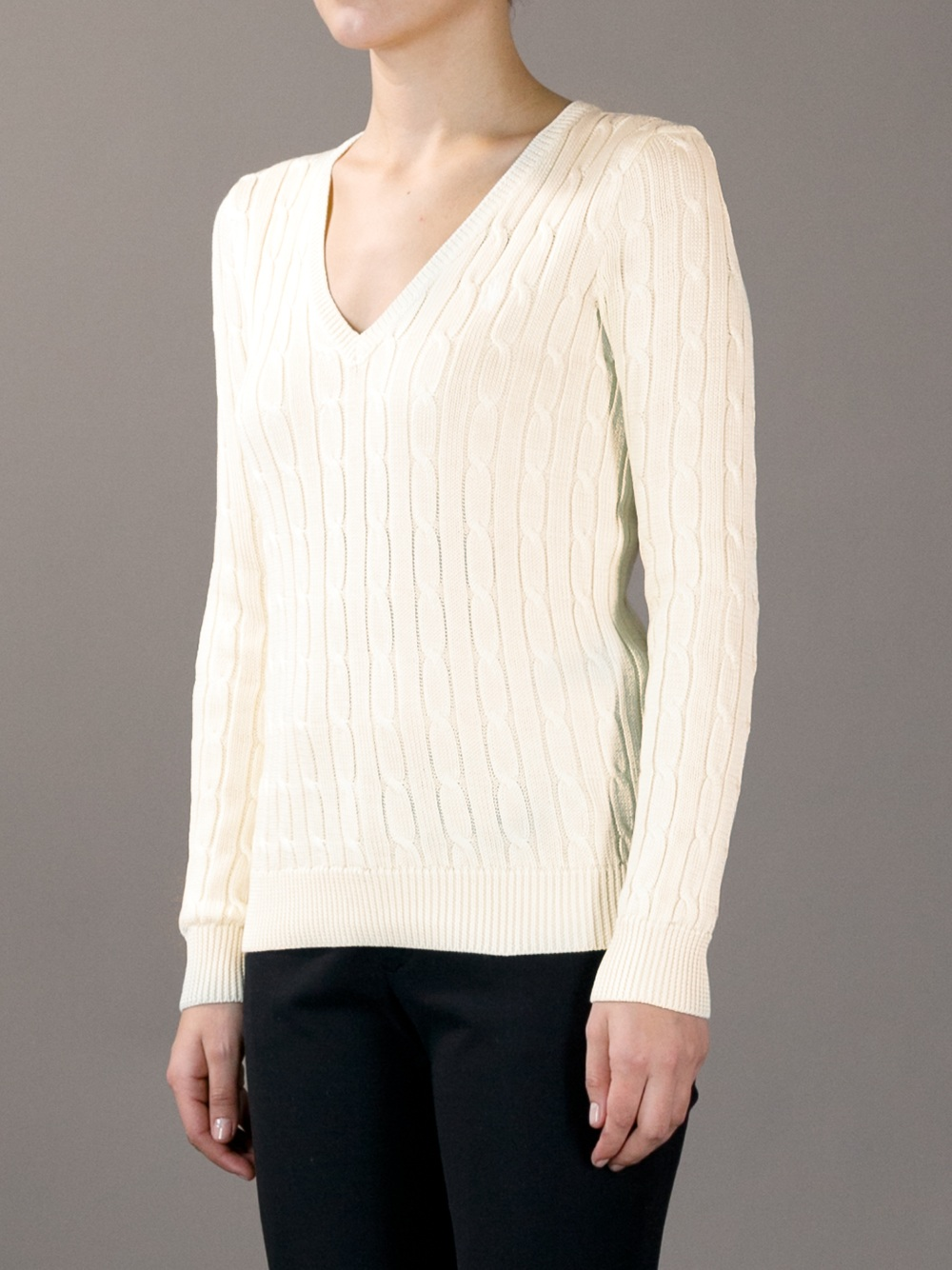 Ralph lauren V-neck Cable Knit Sweater in Natural | Lyst