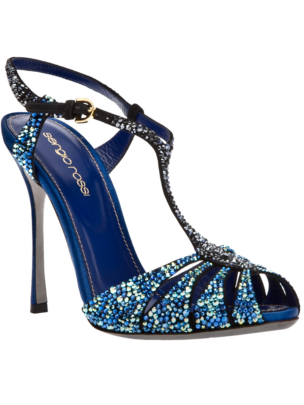 sergio rossi strappy sandals in blue lyst. Black Bedroom Furniture Sets. Home Design Ideas